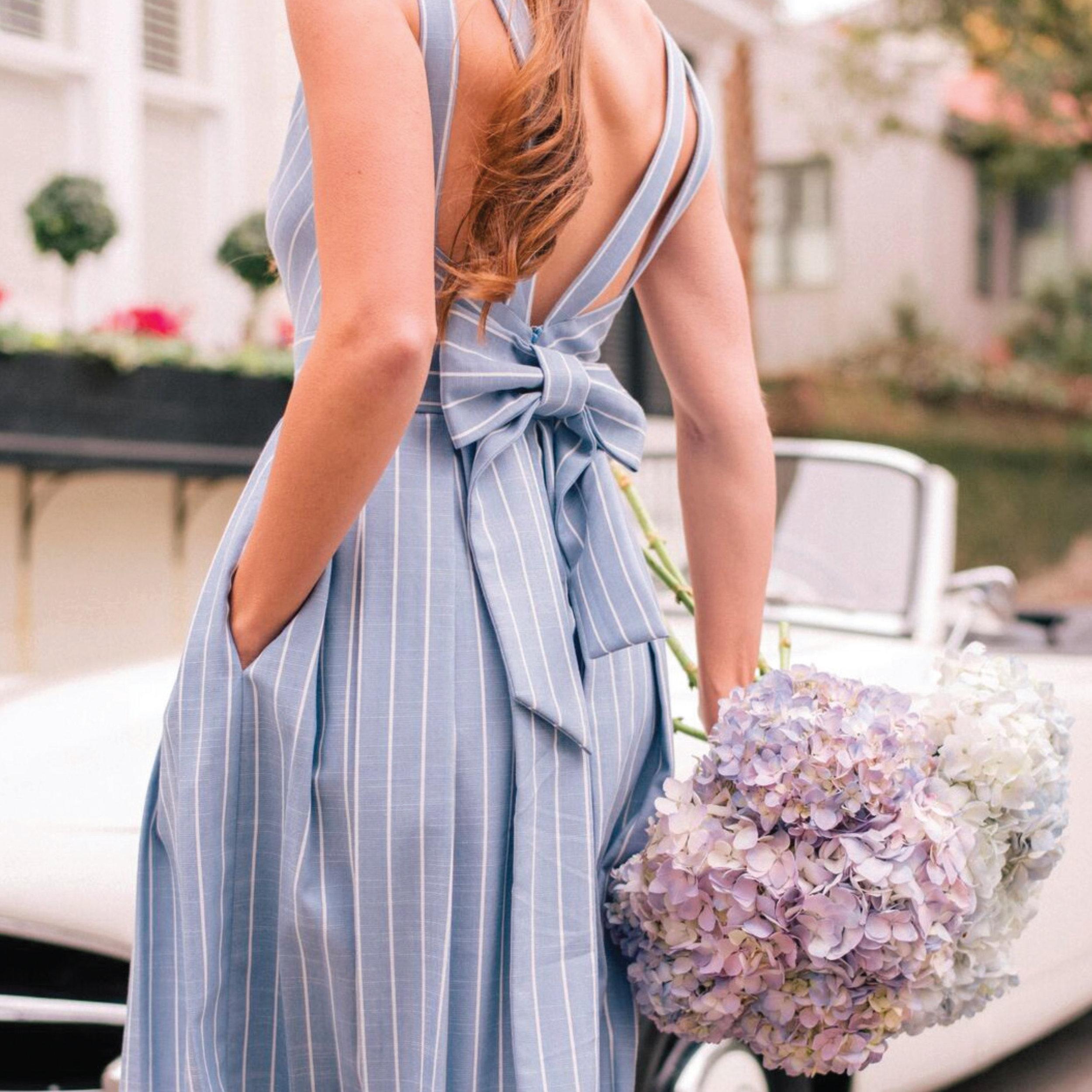 Image via Gal Meets Glam |  Samantha  in Blue/White $158