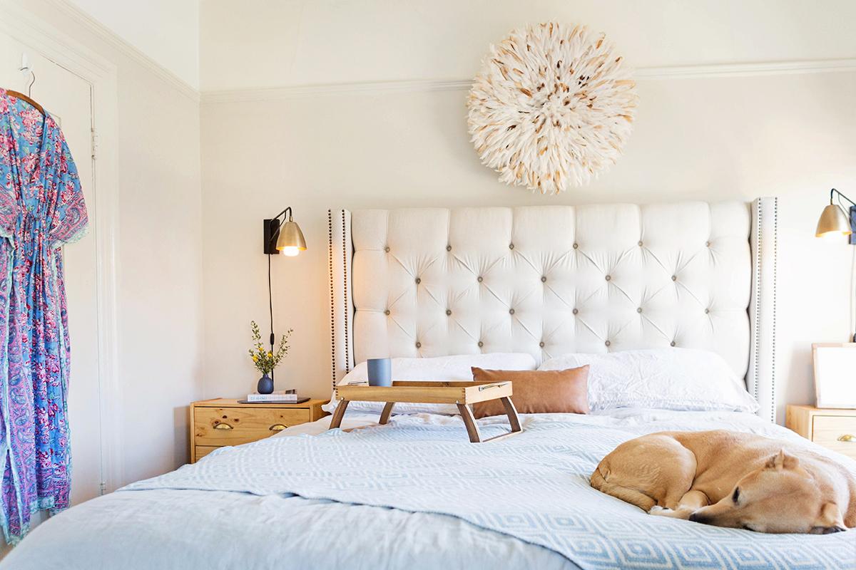 Resources: Bed:  PB , Nightstands:  Ikea , Lighting:  World Market , Vase:  Heath Ceramics , Bolster: c/o  Campaign , Juju Hat:  Zeal Living