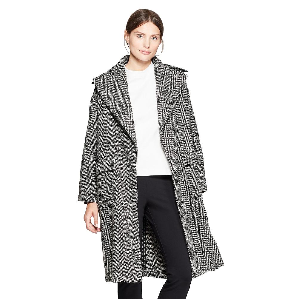 Women's Long Sleeve Jacquard Tweed Overcoat, Target, $49.99 -