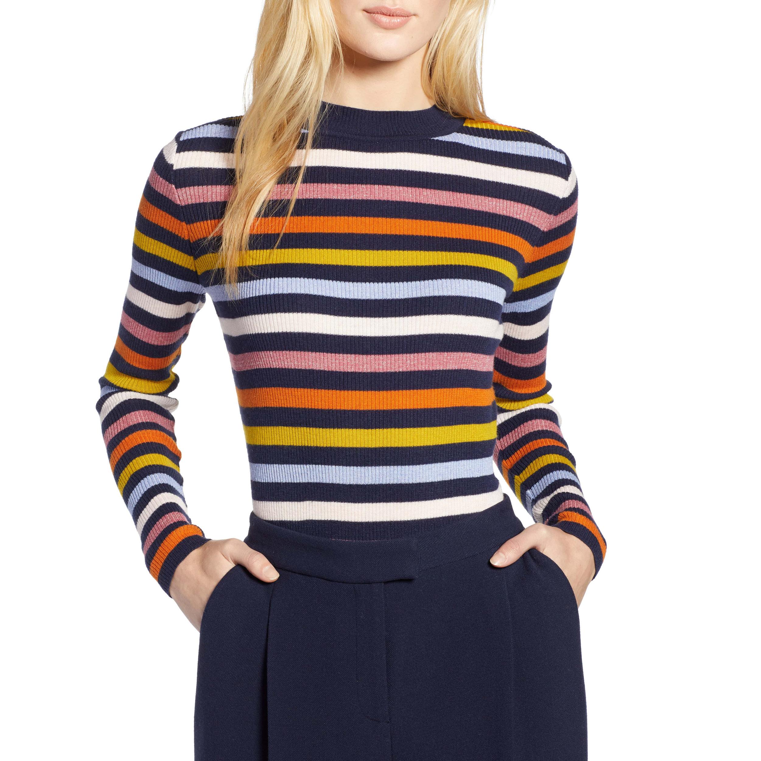 Halogen x Atlantic-Pacific Shimmer Stripe Sweater, Nordstrom, $59 -