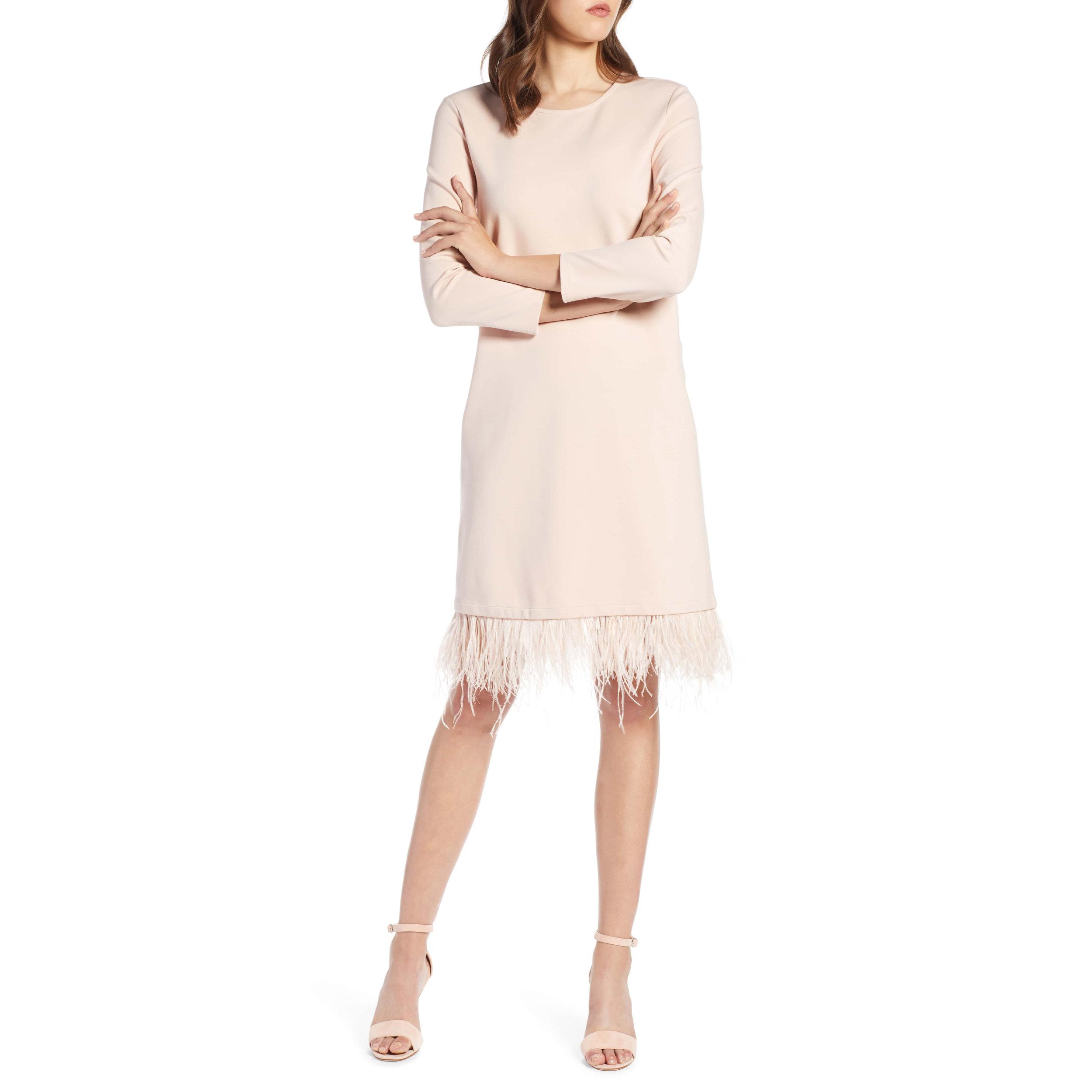 Halogen Ponte Feather Trim Shift Dress,Nordstrom, $129 -
