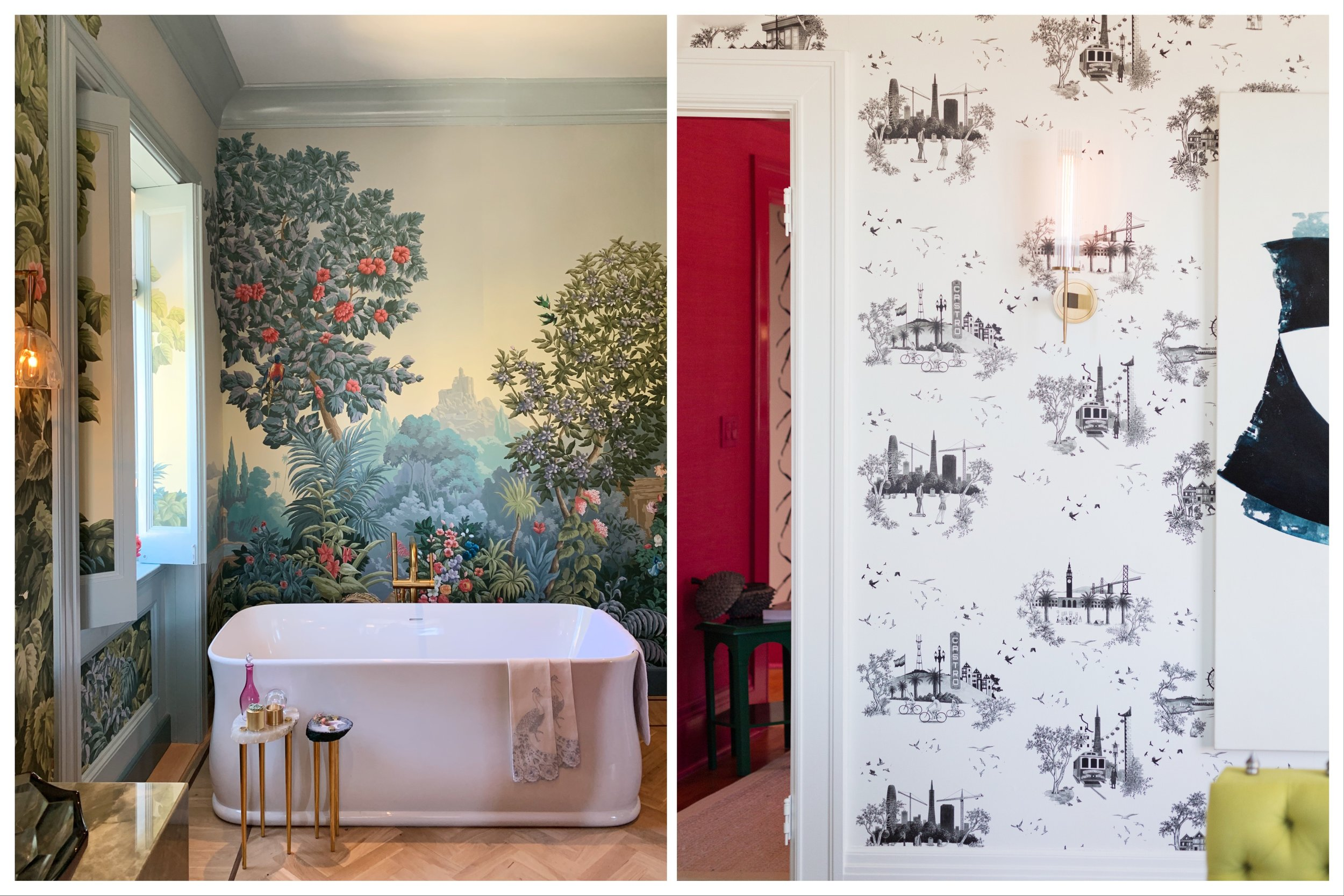 Hand painted de Gournay wallpaper mural,    ABH Interiors    | A graphic print,    Susan Lind Chastain, Inc.    &    Willem Racké Studio
