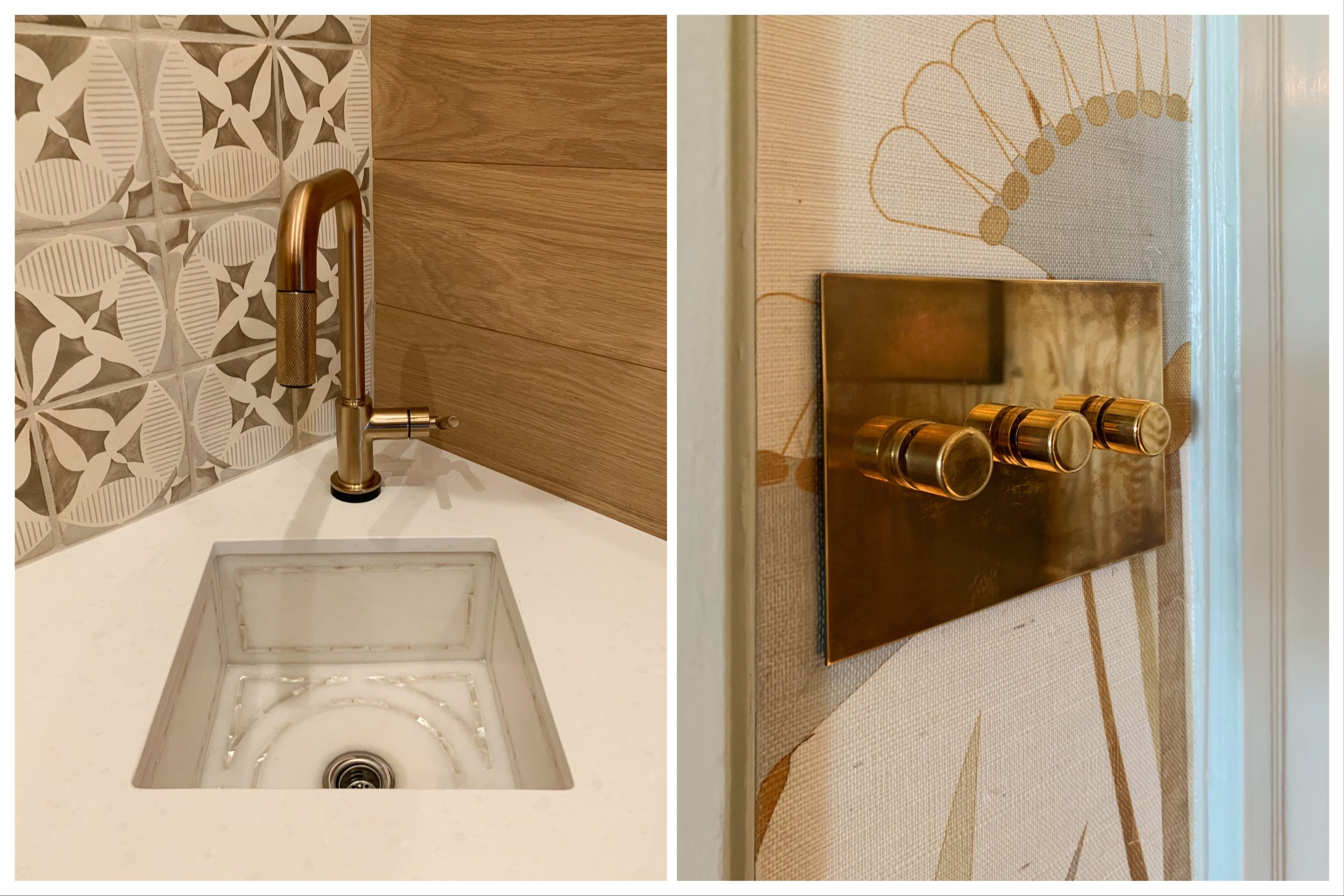 A sink with a beautiful inlay,    Lauren Berry Interior Design    | Brass buttoned switch plates,    Navarra Design, Inc.