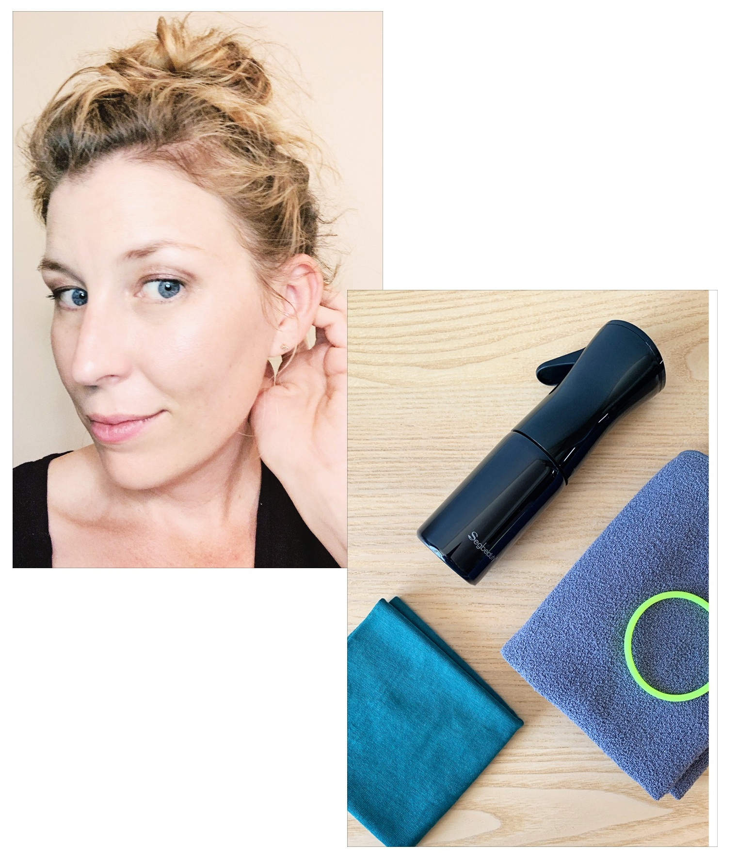 Halo of Baby Hairs |  Buff ,  Spray Bottle , and a Microfiber Towel