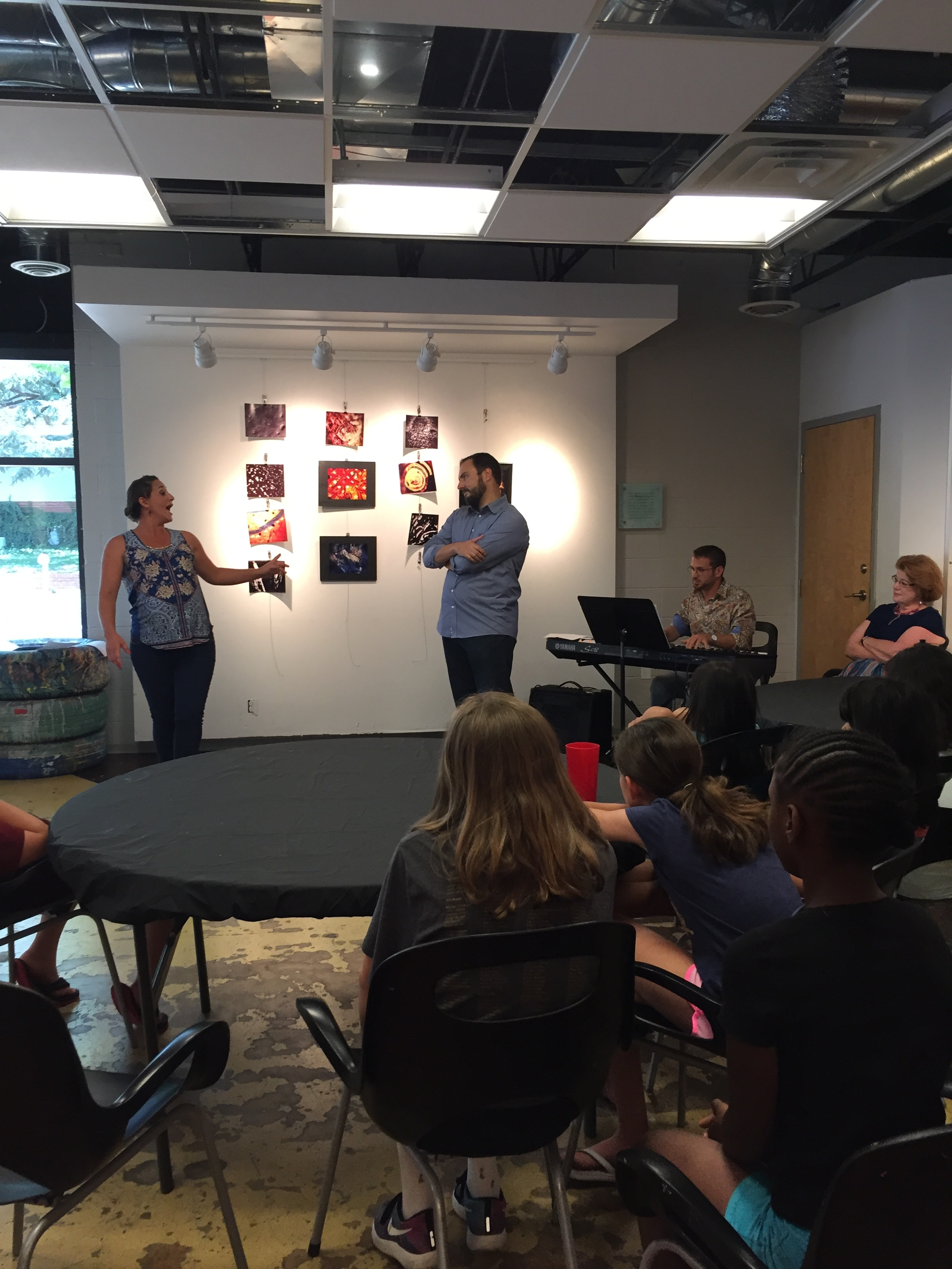 Artistic Director Rob Glaubitz and Mary McDowell performing an Outreach to a Summer Arts and Music Camp July 2017.