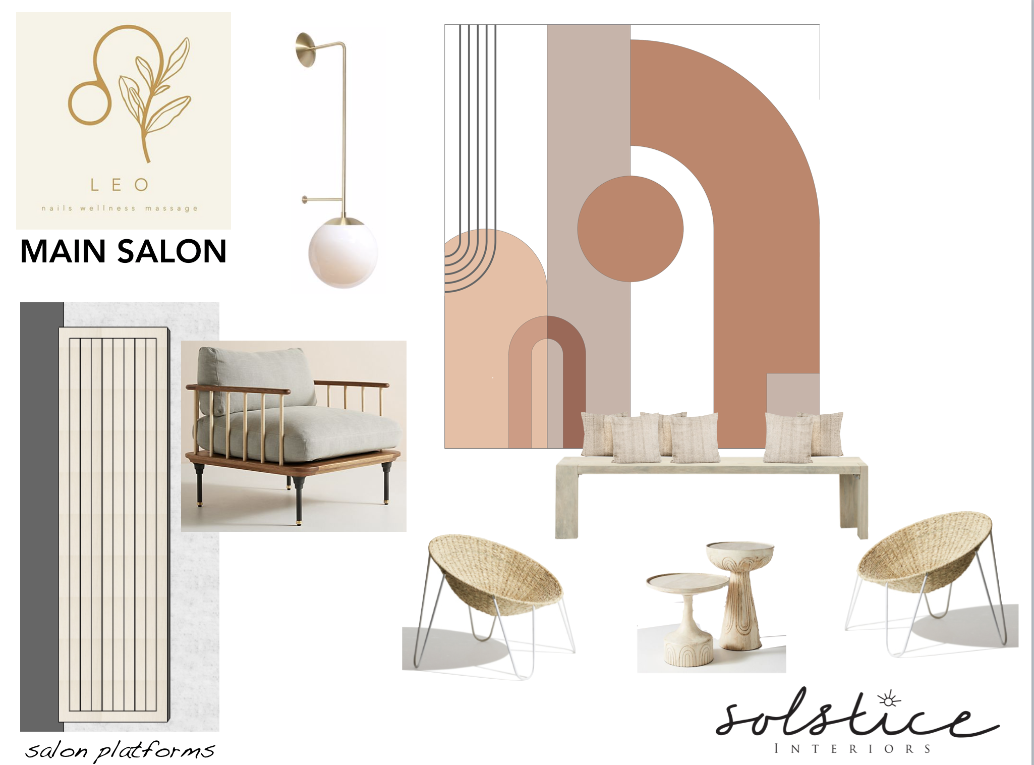 Initial concept board for Leo's main salon, including the pedicure chairs that line each wall and one of the lounge areas.