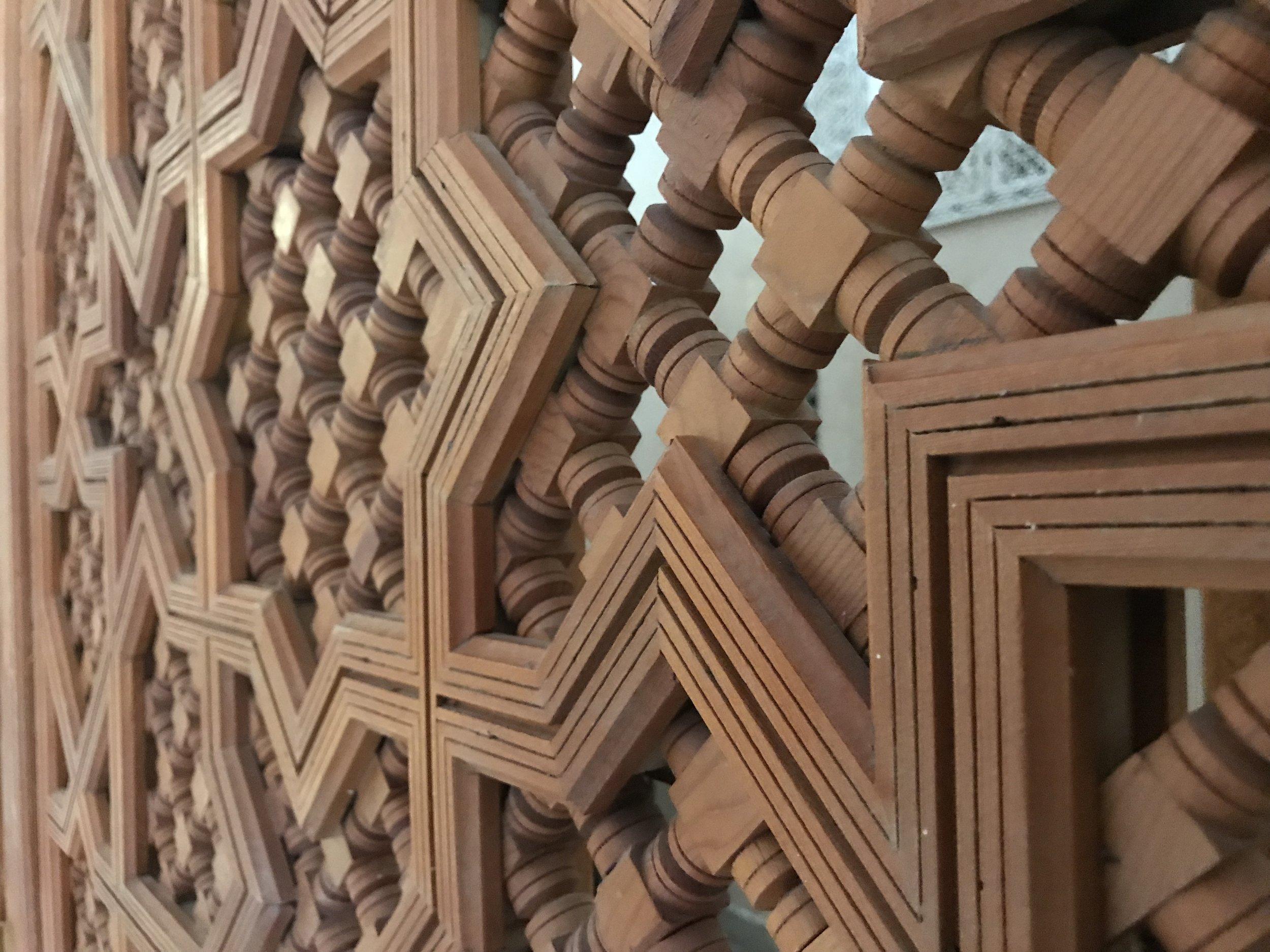 Mashrabiyya (wooden screen), Islamic Center of Science in Rabat, Morocco  Photo provided by Gwendalyn Ryan '20