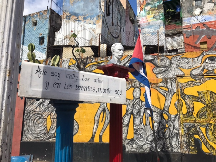 Quote and bust of Jose Marti in Callejon de Hamel  Photo provided by Gabrielle Rente '20