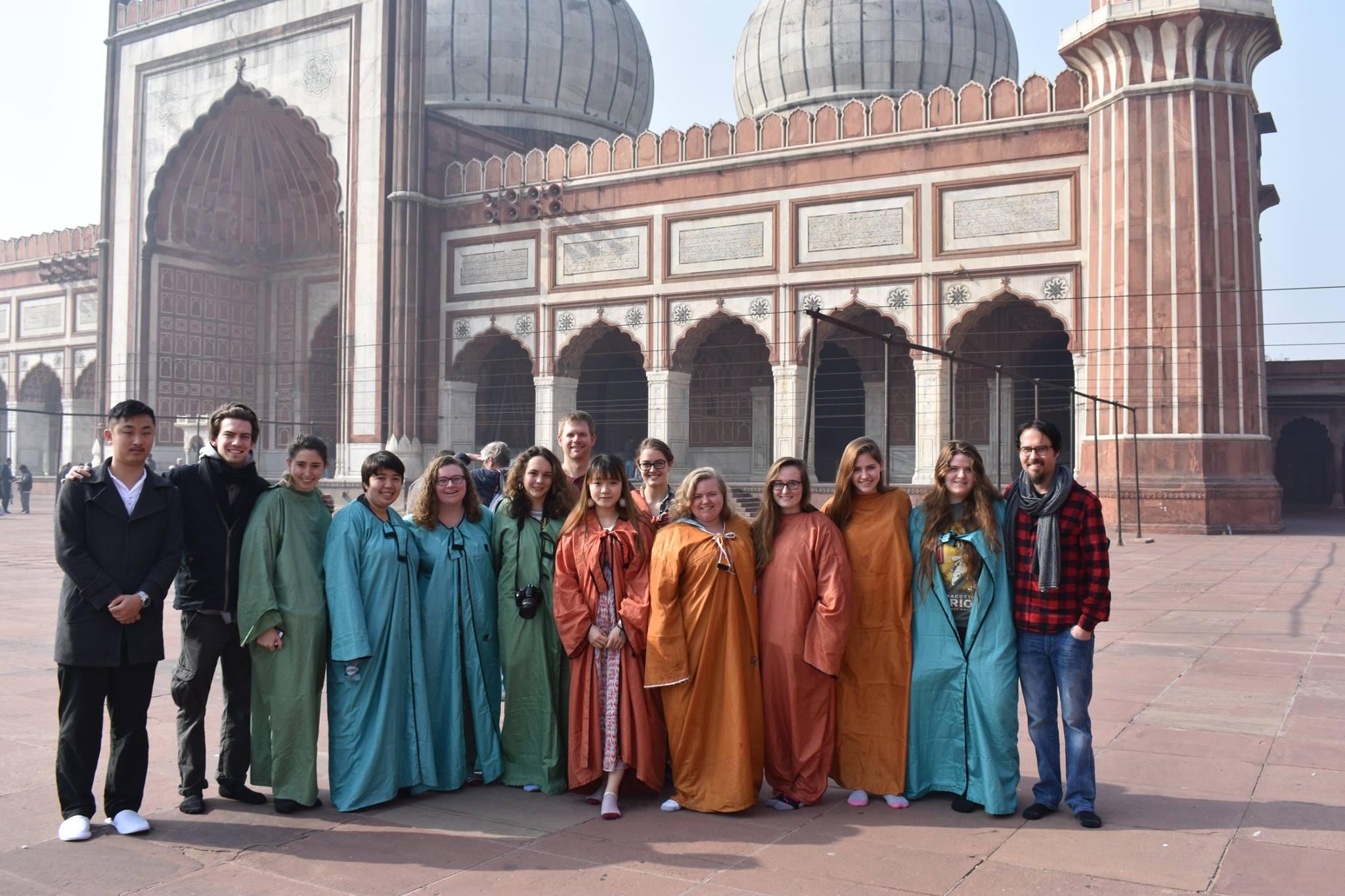 2018 seminar students at the Jama Masjid in Delhi, India  Photo provided by Dr. John Leupold, Associate Professor of Music