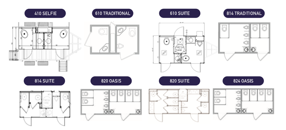 Our Portable RestRoom Trailer Floor Plans