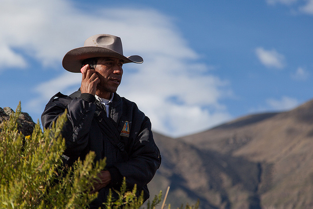 local colca police with cowboy hat