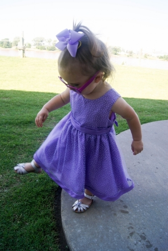 Zivah Stepping in Wet Grass