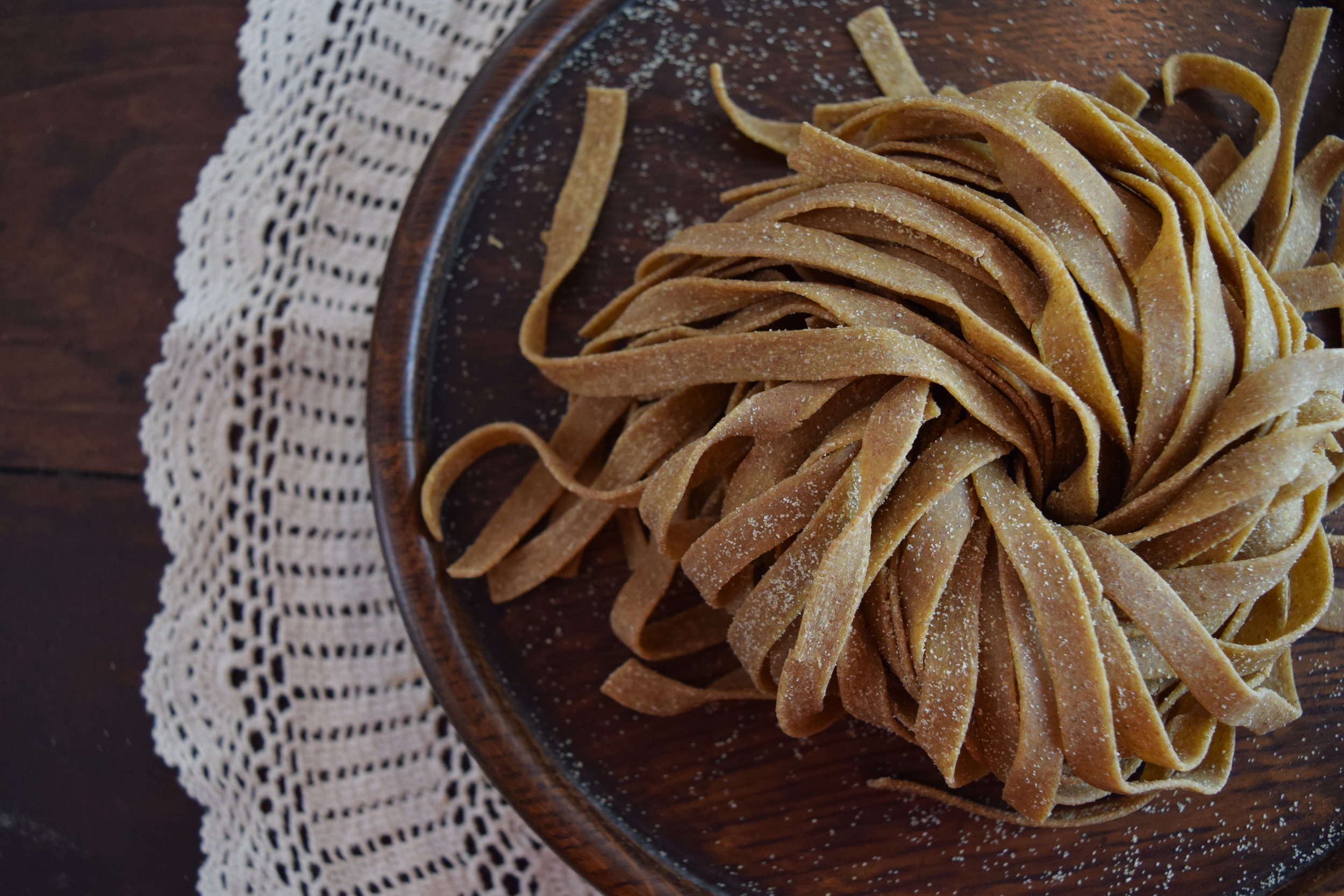 Kernza-based pasta created by Dumpling & Strand.