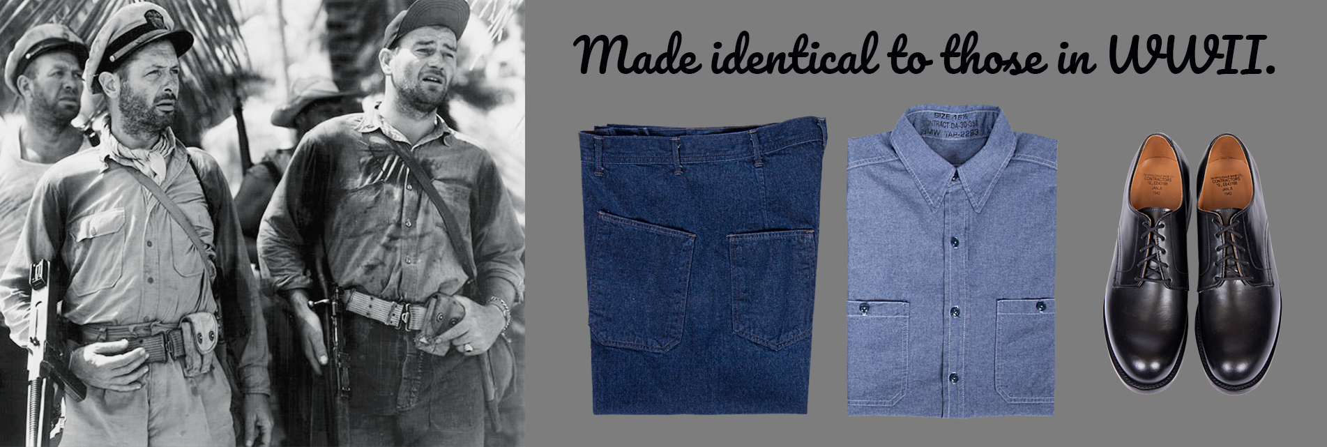 WWII U.S. Navy Dungarees and Oxfords.