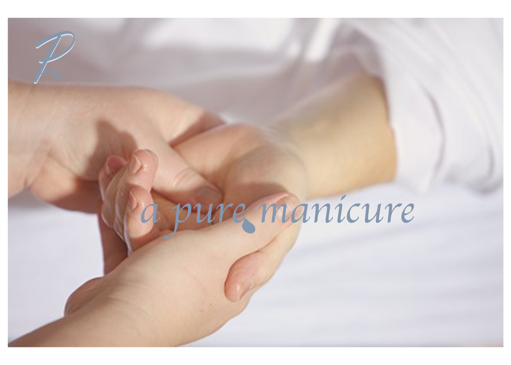 The first touch of our    pure manicure    begins with a stress relieving arm & hand massage, stimulating your body's healthy blood flow. Your nails will then be filed and treated with our handmade cuticle balm. Our minty fresh salt scrub combined with our amber and vanilla lotion will leave your hands feeling refreshed. Our signature aloe oil and a high shine nail buff, will finish your pure manicure perfectly.