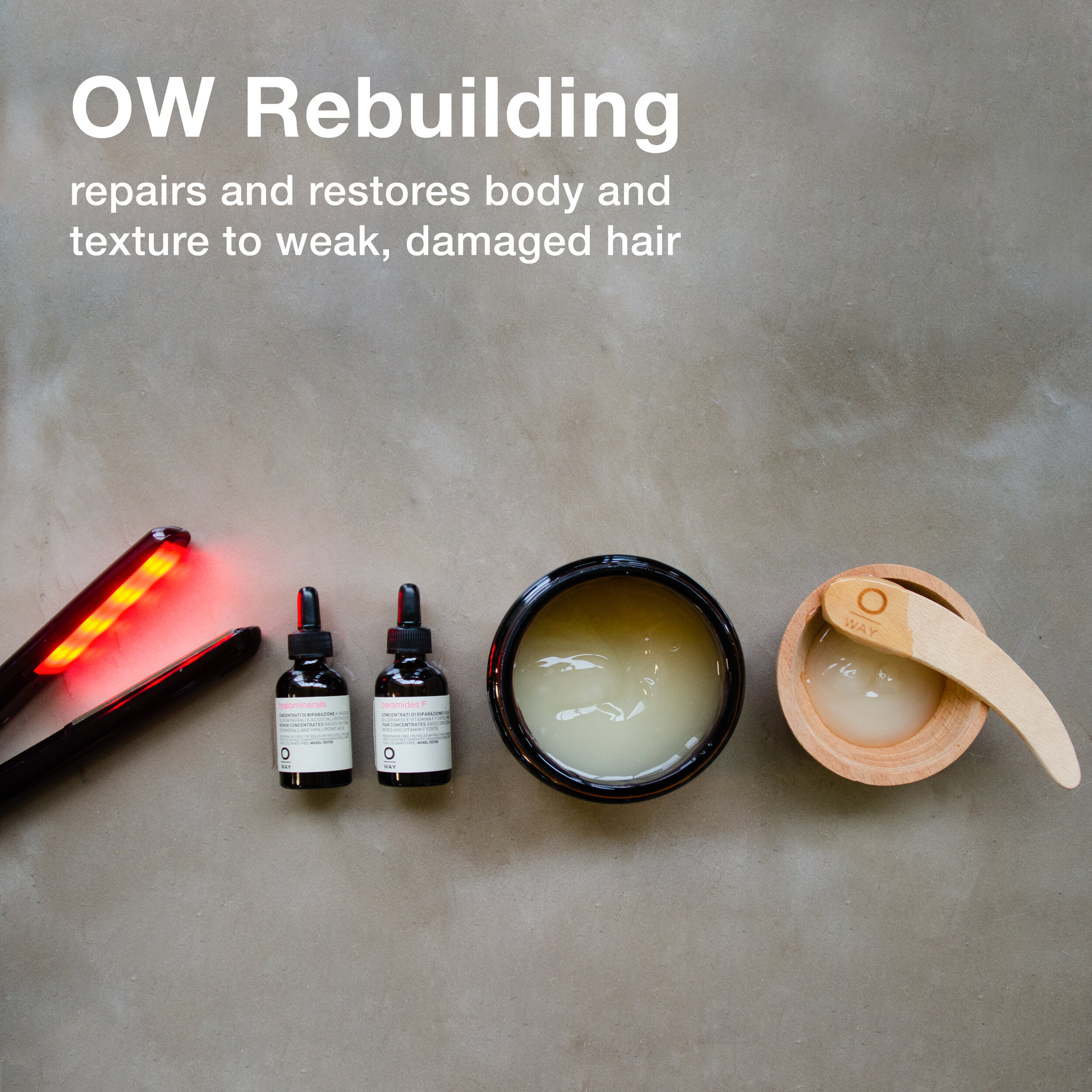 """Oway Rebuilding Serum is made with an innovative Phytokeratin™ complex of 18 biomimetic acids that exactly reproduce the hair's keratin structure. It strengthens the hair by acting as """"intracellular cement"""" for the cuticle and cortex to refill and reinforce the chains of the hair. Ceramides F restore and strengthen both the skin and hair with a revolutionary botanical-based concentrate. Vitamin F Forte restores the skin and hair's delicate lipid barrier, creating a protective layer around the cuticle to prevent further damage. Ceramides penetrate the lipid barrier to regenerate and """"fill in"""" missing pieces of the hair. Hyaluronic Acid seals cuticle scales and binds to the hair and skin, allowing it to retain moisture and softness."""