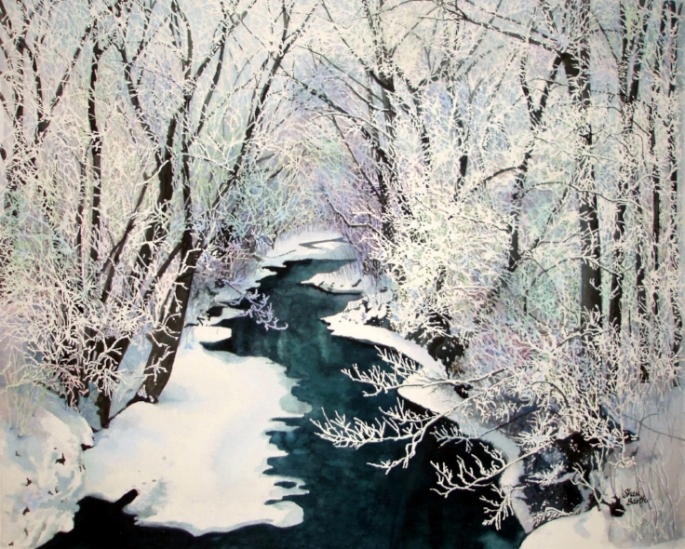 First Snow - watercolor