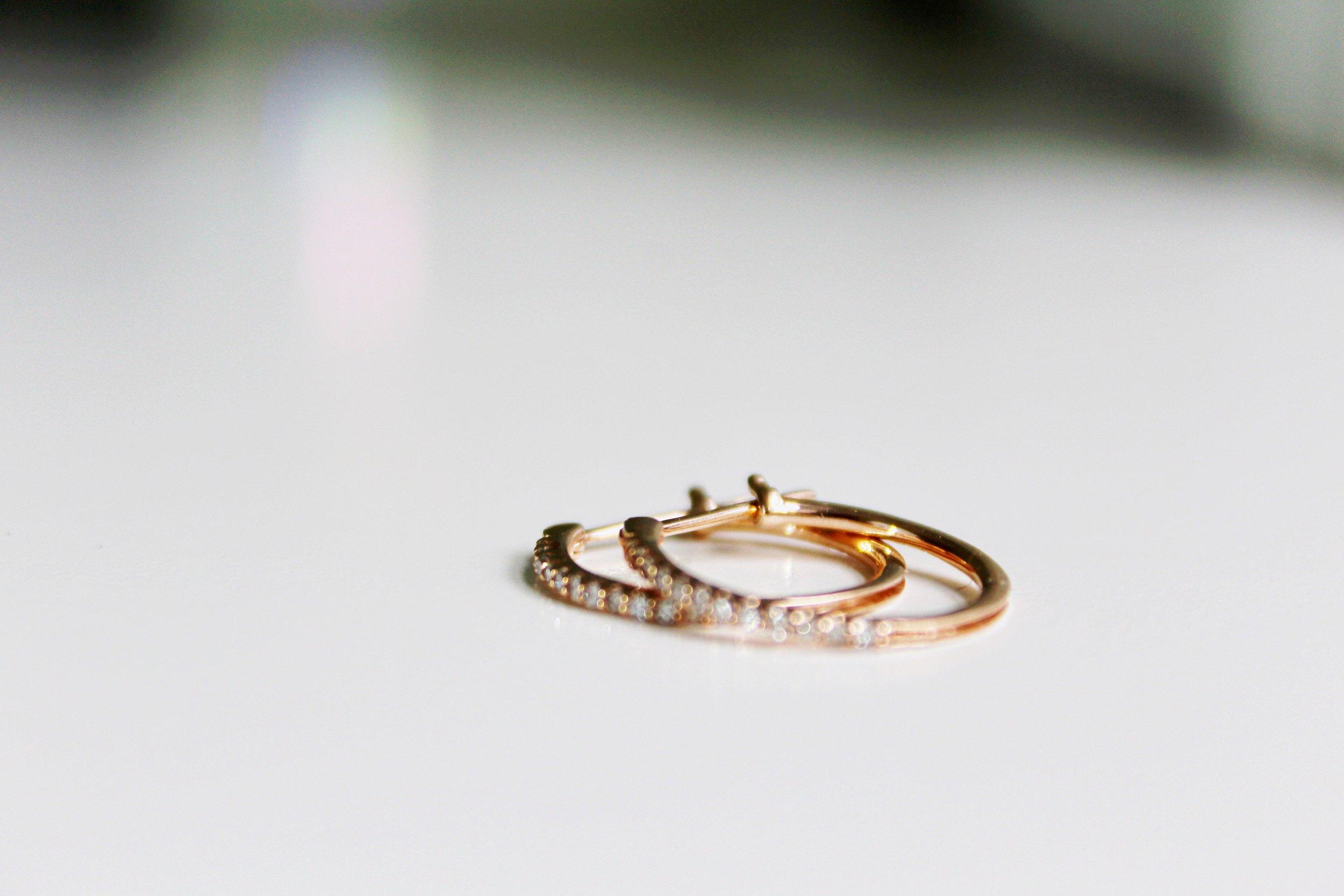 NEW ROSE GOLD 14 KARAT HOOPS -
