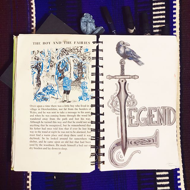 It was really nice to take a break and chill out making this illuminated illustration. I also really like how it turned out.  #legend #inktober #inktober2019 #ink #marker #prismacolor #markerdrawing #inking #sword #illuminatedletters #handlettering #dropcap #raven #sword #celtic #celticart #sketch #sketchbook #illustration #art #artist #artistsoninstagram #illustrationartists