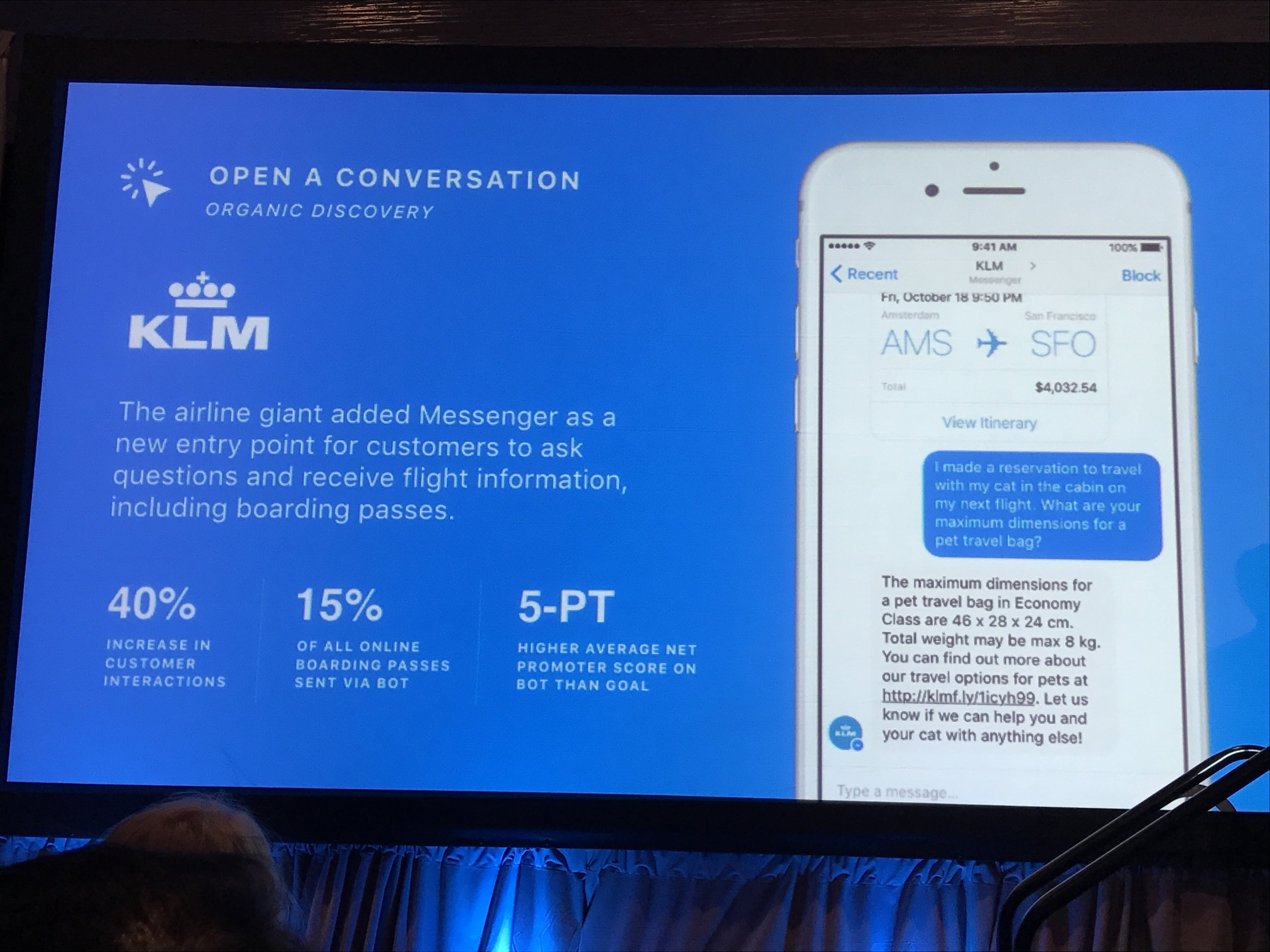 KLM uses Facebook's Messenger and a bot to issue more boarding passes  and  build relationships.