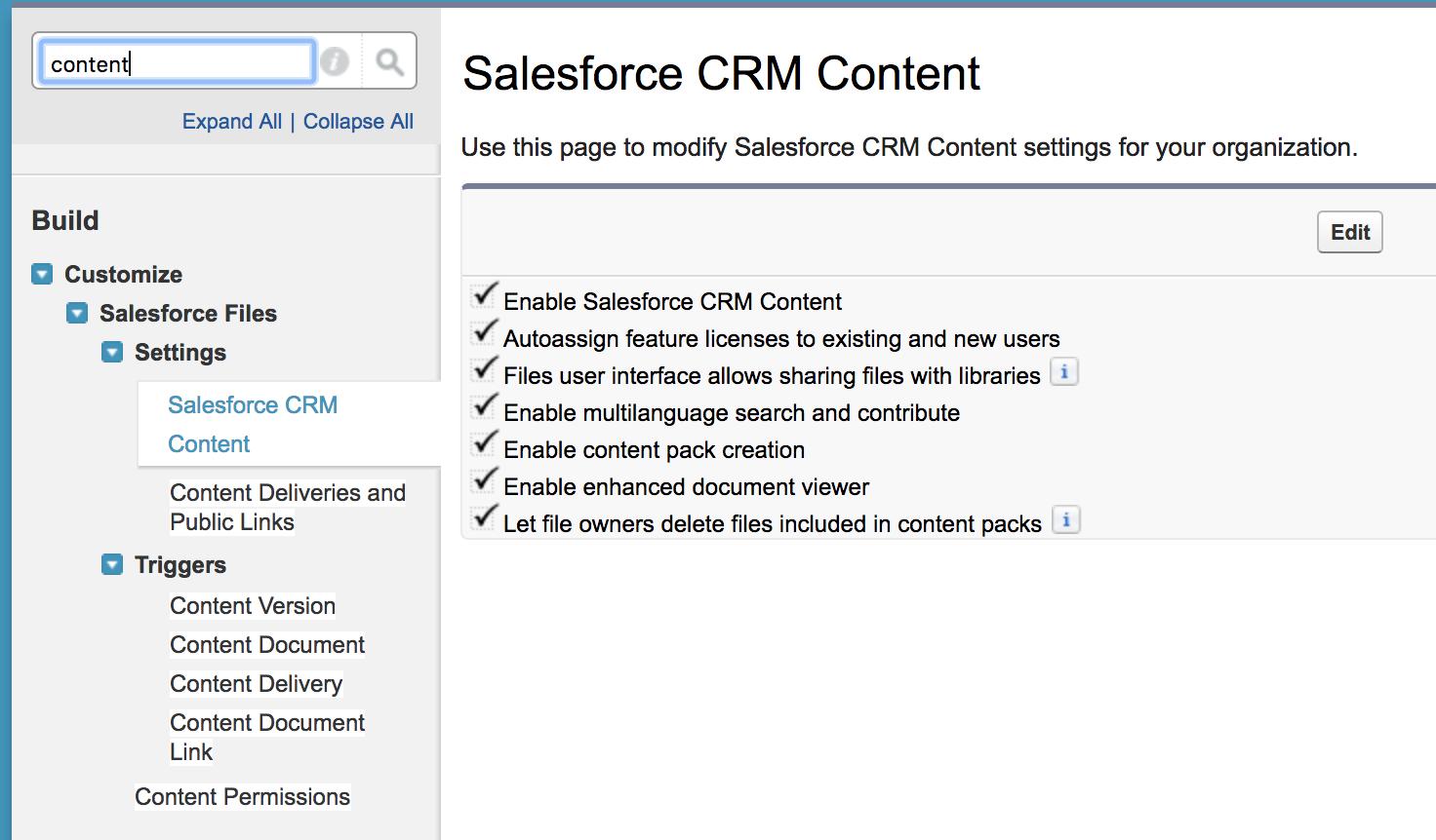 enable salesforce crm content
