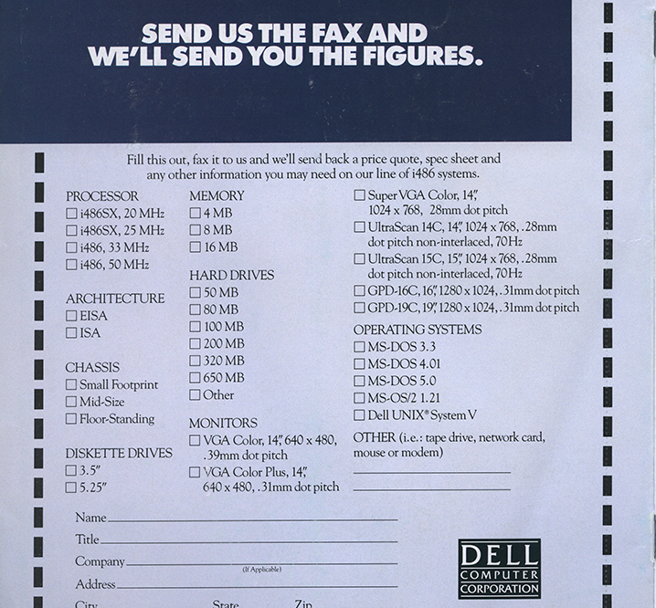 Way back when you could fax in your PC order.