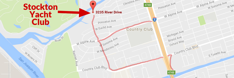 Road map to Stockton Yacht Club