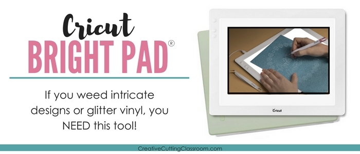 The Cricut Bright Pad makes weeding adhesive vinyl much easier, especially glitter vinyl. That's why we added it to our top accessories and tools for working with adhesive vinyl.