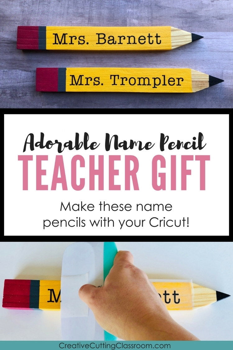 Teacher Gift: Name Pencils with Garden Stakes and the Cricut  Adorable tutorial showing how to make a teacher's gift with garden stakes and your Cricut!
