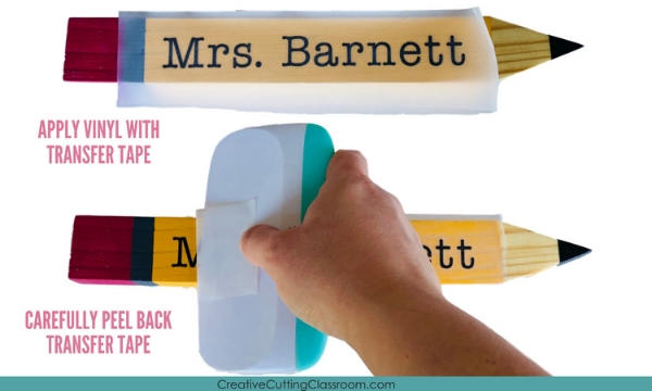 How to Make Name Pencil with Garden Stakes and Your Cricut. An adorable teacher gift using Cricut and vinyl.