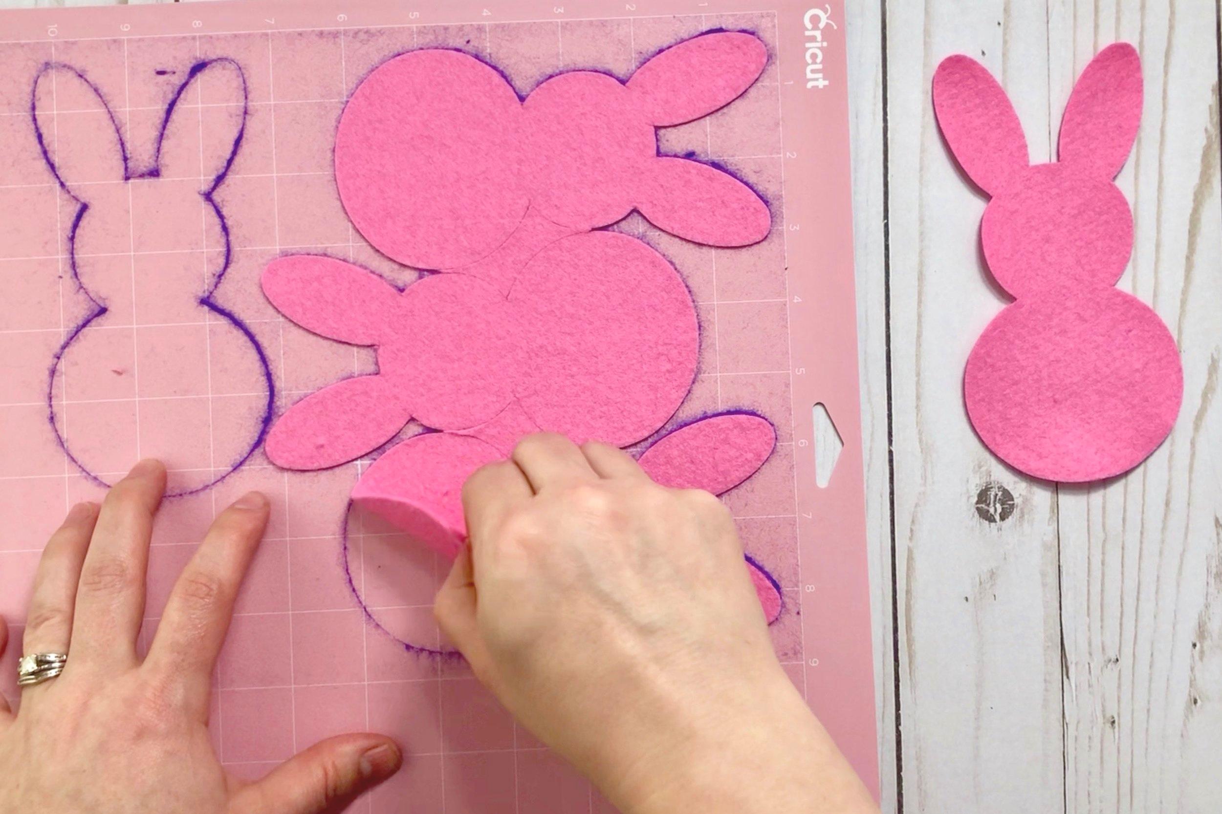 Making a Cricut Easter project- a Felt Bunny Banner