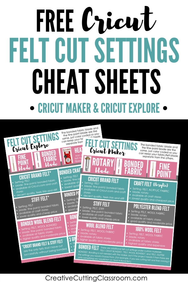 Grab your free Cricut Design Space cheat sheets for cutting felt with the Cricut Maker and Cricut Explore. #CricutMaker #CricutExplore #CricutFelt #CricutDesignSpace #CricutCheatSheets #CutFeltwithCricut