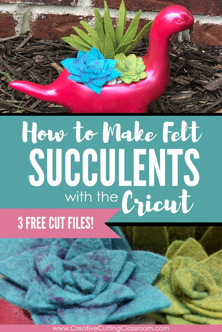 How to Make Felt Succulents with Cricut .   Make this adorable felt succulent planter with your Cricut and our three free SVG files.        #CricutMaker #CricutExplore #CricutFelt #FreeSVG #FeltSucculentDIY #FeltSucculentsTemplate #FeltSucculentPattern #FeltSucculentDIYPattern #FeltSucculentsTemplateFree #FeltSucculentsCricut
