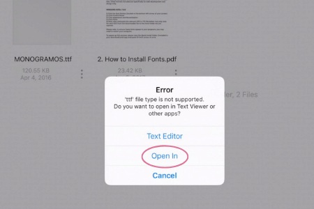 Opening a font file to install to the Ipad for Cricut Design Space