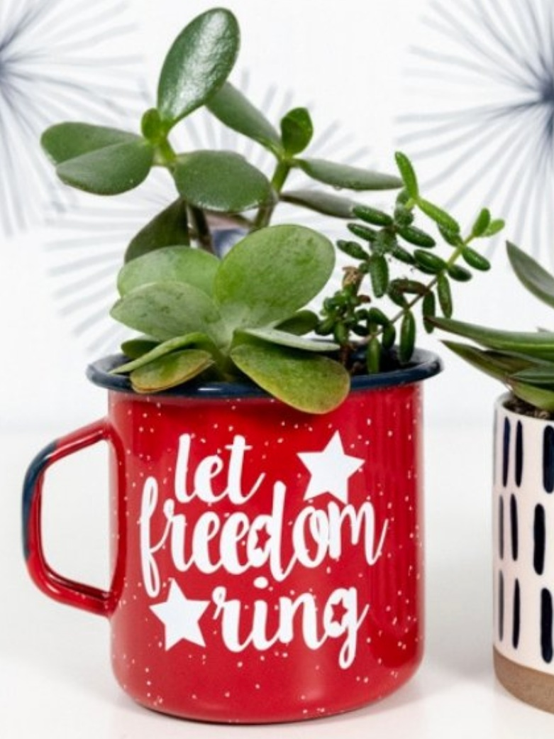 Patriotic Cricut Projects for Fourth of July: Patriotic Small Planters