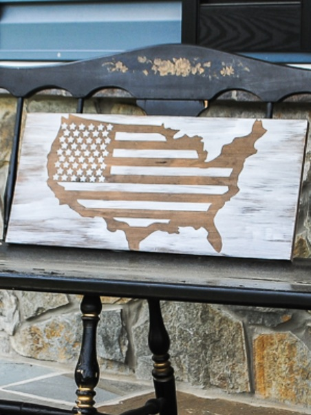 Patriotic Cricut Projects for Fourth of July: Wooden USA Sign