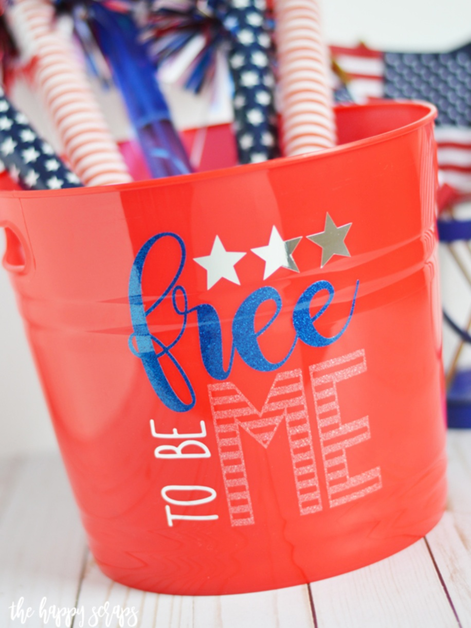 Patriotic Cricut Projects for Fourth of July: Fun Bucket