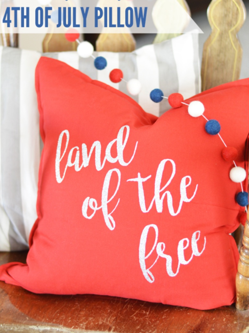 Patriotic Cricut Projects for Fourth of July: Land of the Free Pillow