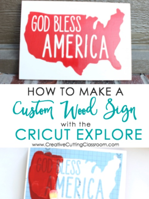 Patriotic Cricut Projects for Fourth of July: God Bless America Wood Sign