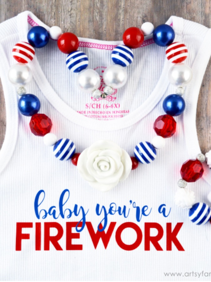 Patriotic Cricut Projects for Fourth of July: Firework Tank Top