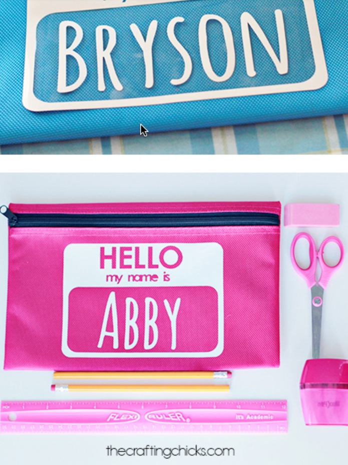 "Back to School Cricut Project: ""My name is"" pencil pouch by the Crafting Chicks"