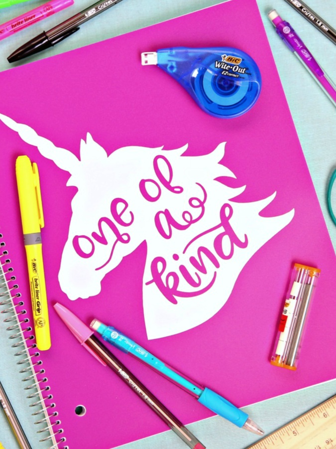 Back to School Cricut Project: Unicorn notebook by Happy Go Lucky