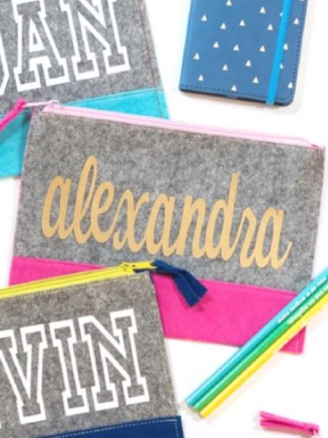 Back to School Cricut Project: personalized pencil pouches by Kingston Crafts