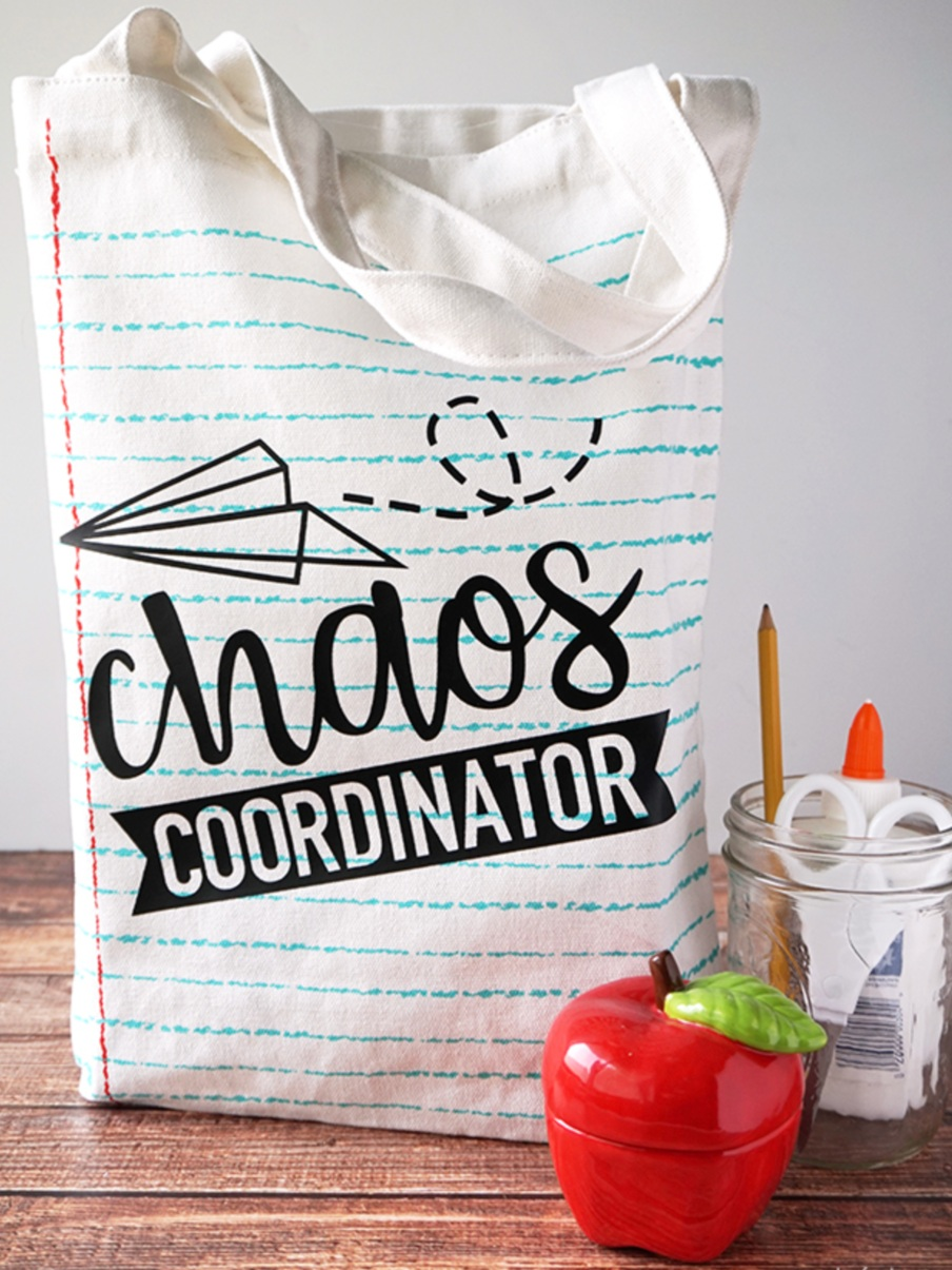 Back to School Cricut Project: Chaos Coordinator tote bag by Artsy Fartsy Momma