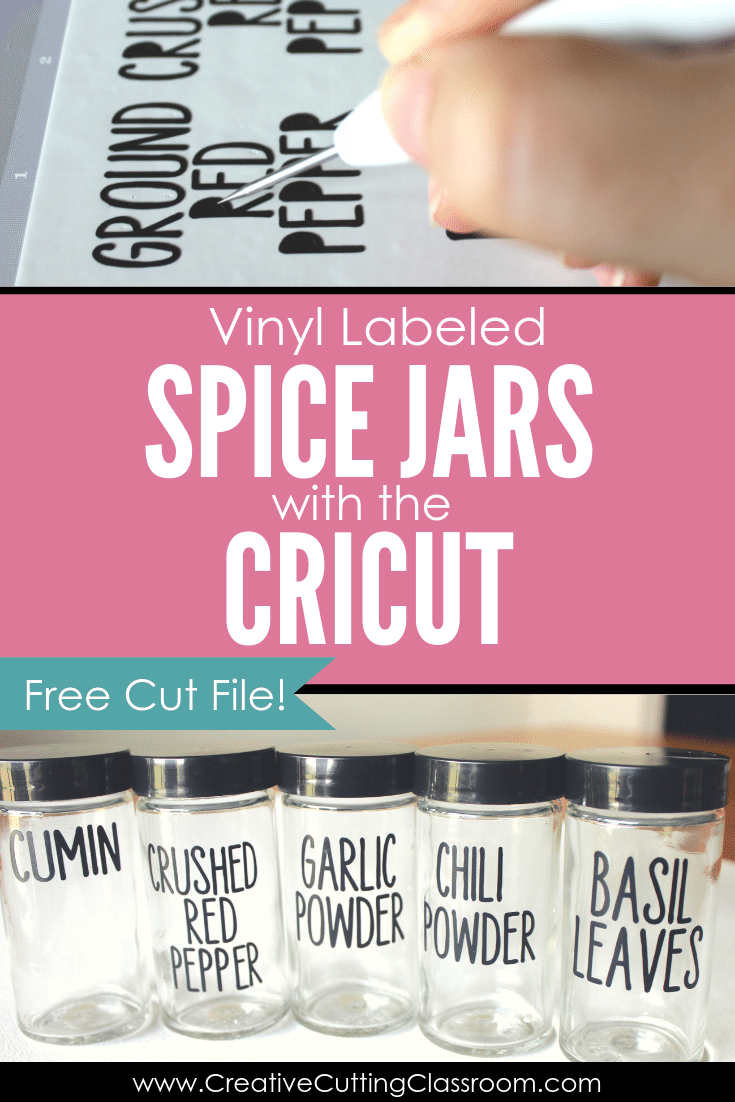 Vinyl Labeled Spice Jars with the Cricut