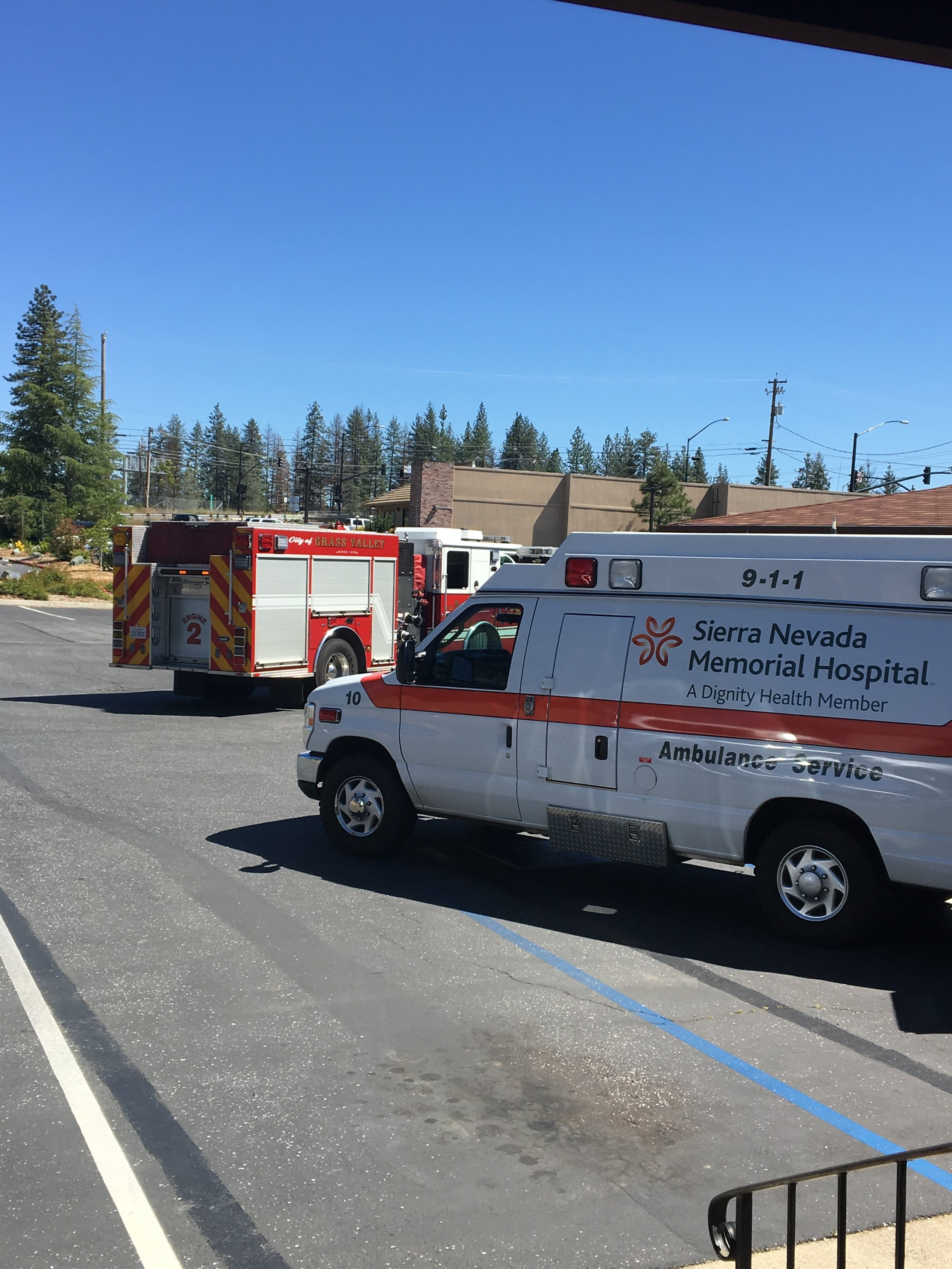 Medical: The Grass Valley Fire Department provides EMS to the community with the help of Sierra Nevada Ambulance. When a 911 call is received for a medical emergency our dispatch center will send one fire engine and one ambulance. The fire engine is dispatched because we are usually closer to the call than the ambulance, therefore can provide medical care until they arrive. All members of the Grass Valley Fire Department are trained to the EMT (Emergency Medical Technician) level and act within the scope of practice approved by our local EMS agency.