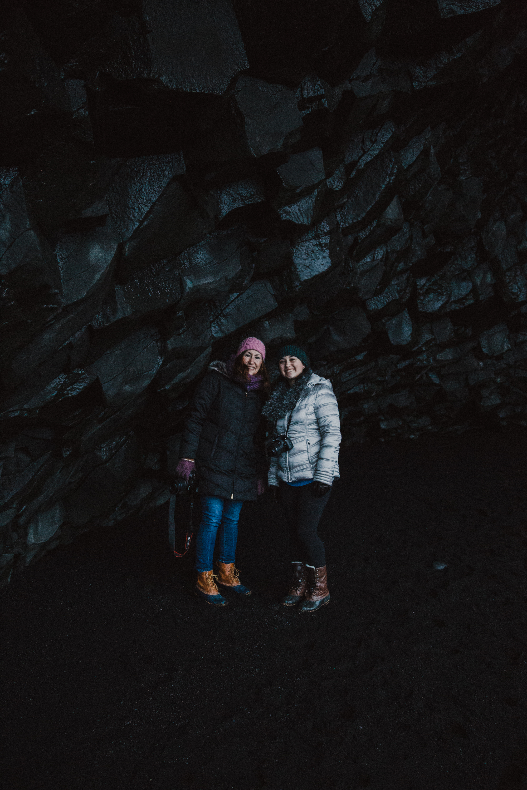 My mom and sister inside the basalt cave.