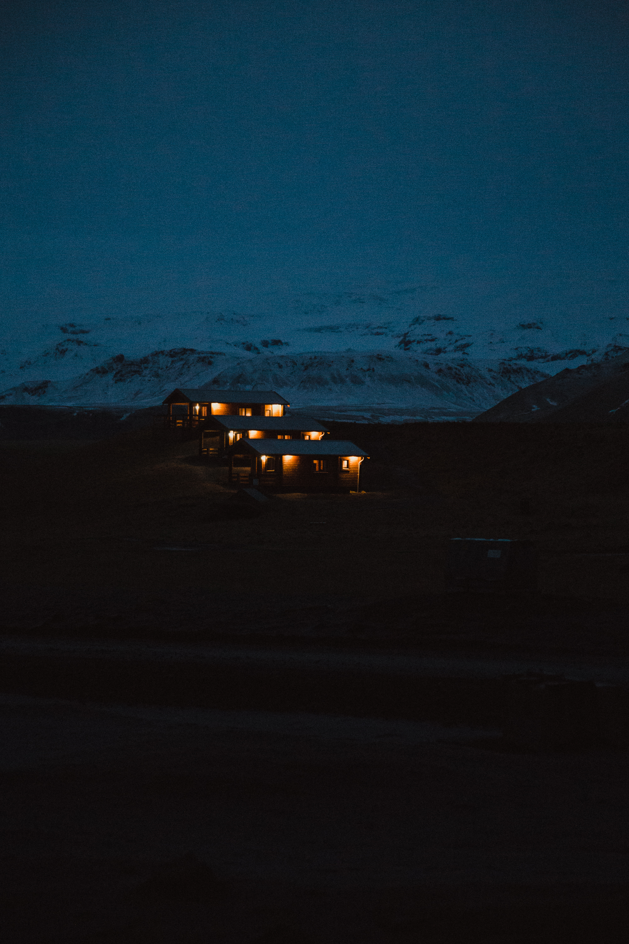 The cabins were so beautiful in the dark.
