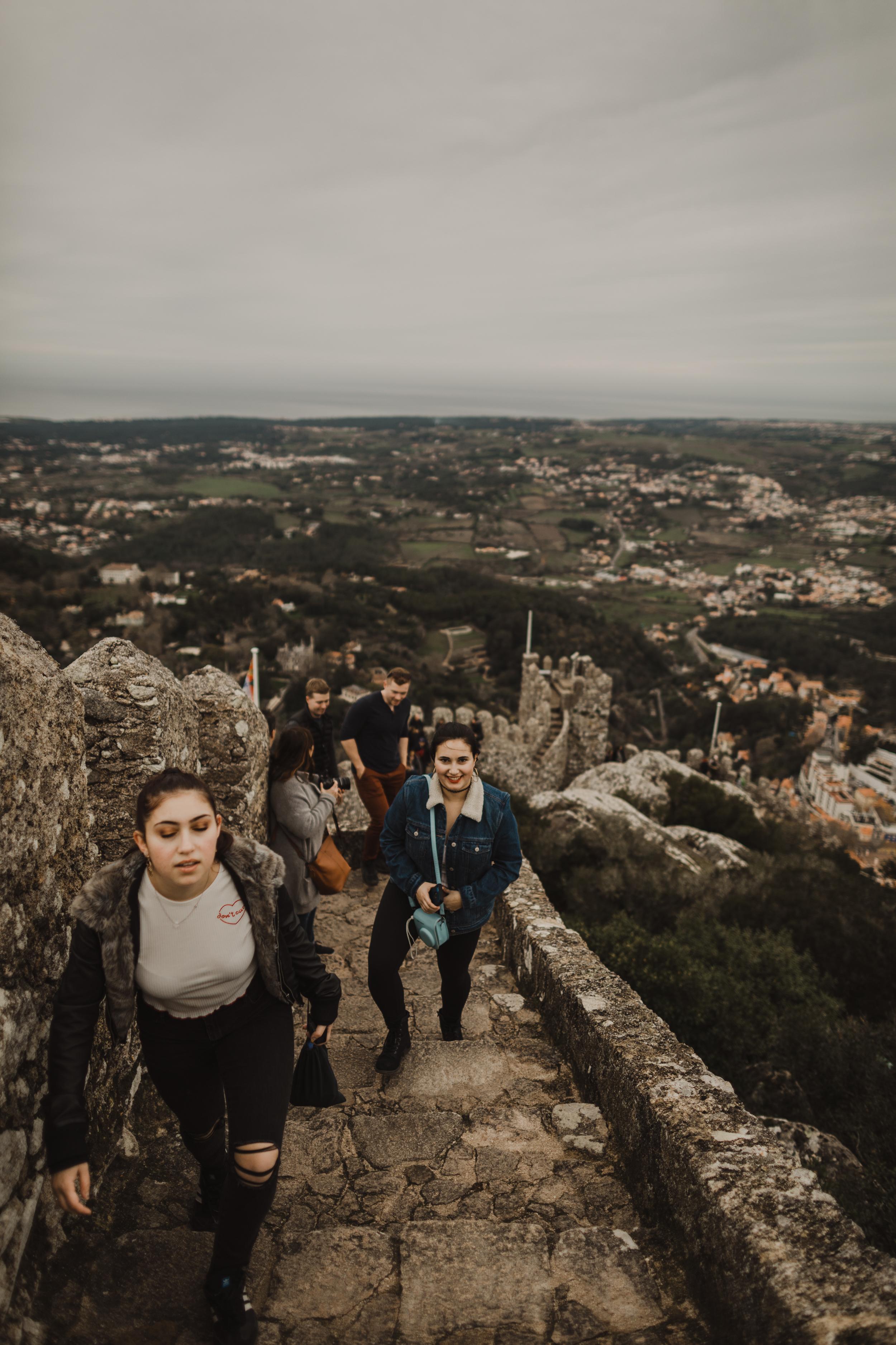Walking up the rampart of the Moorish Castle
