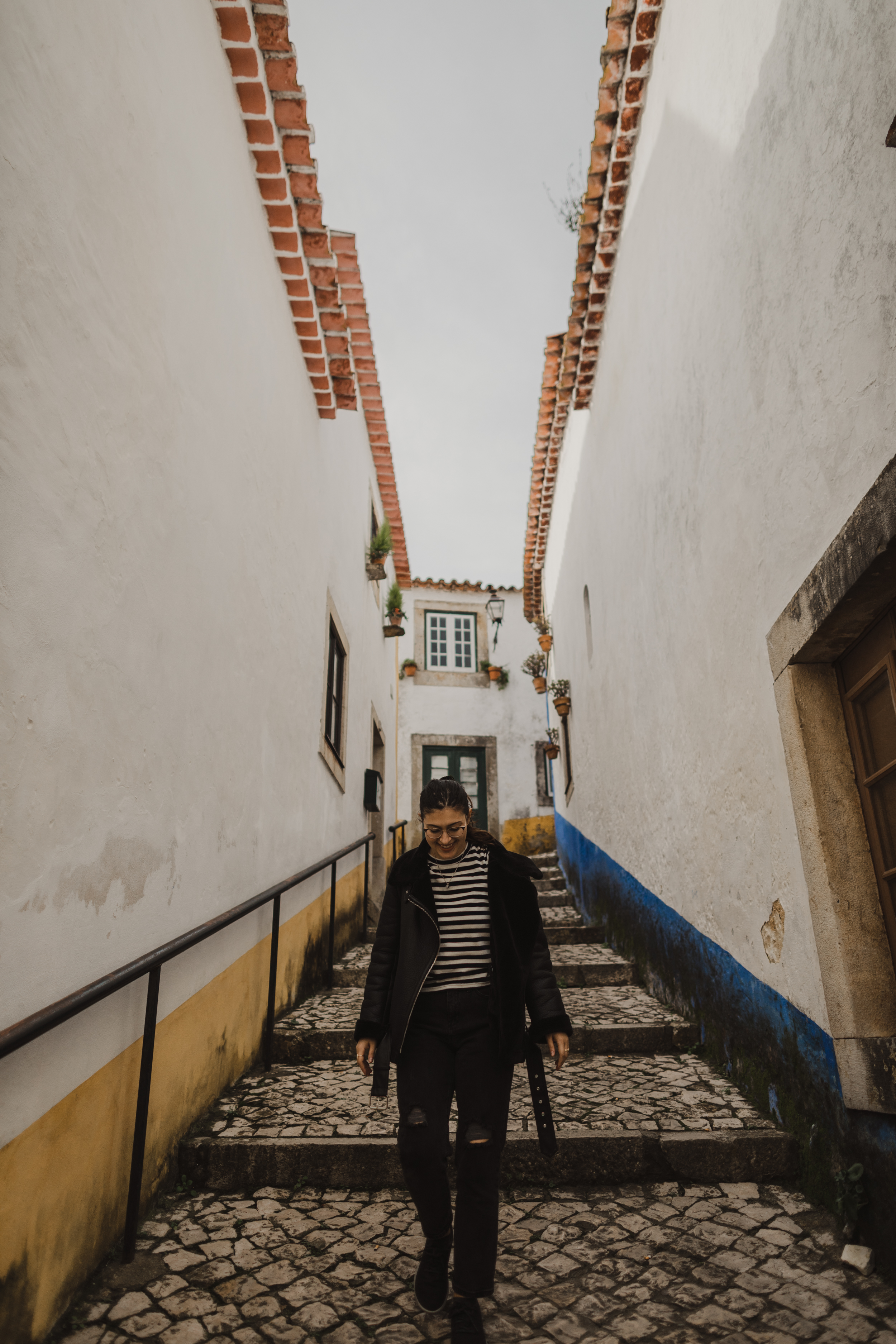 One of the cute colorful side streets of Obidos